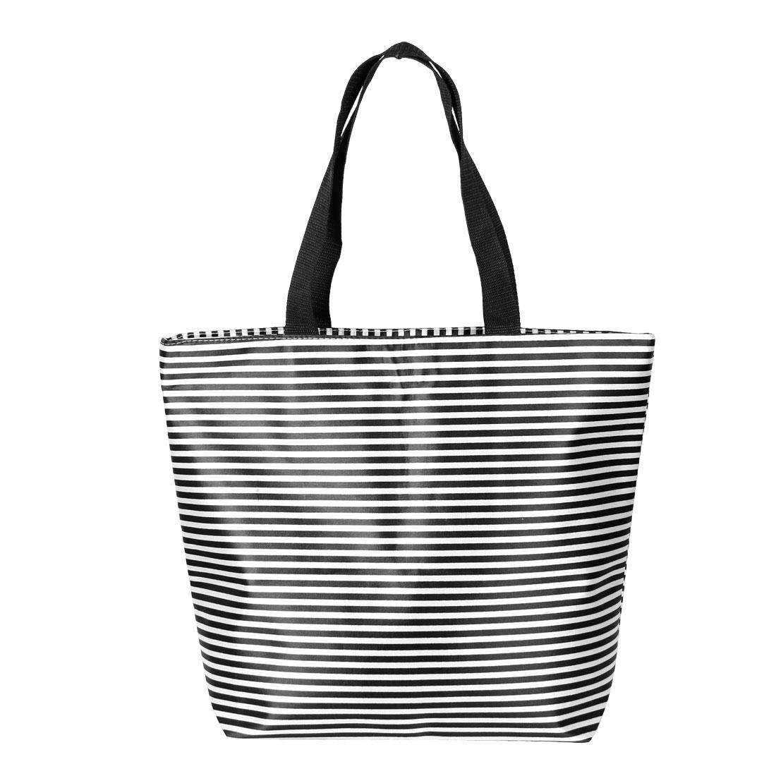 Folding Zip Up Black White Stripes Printed Polyester Shopping Shoulder Bag