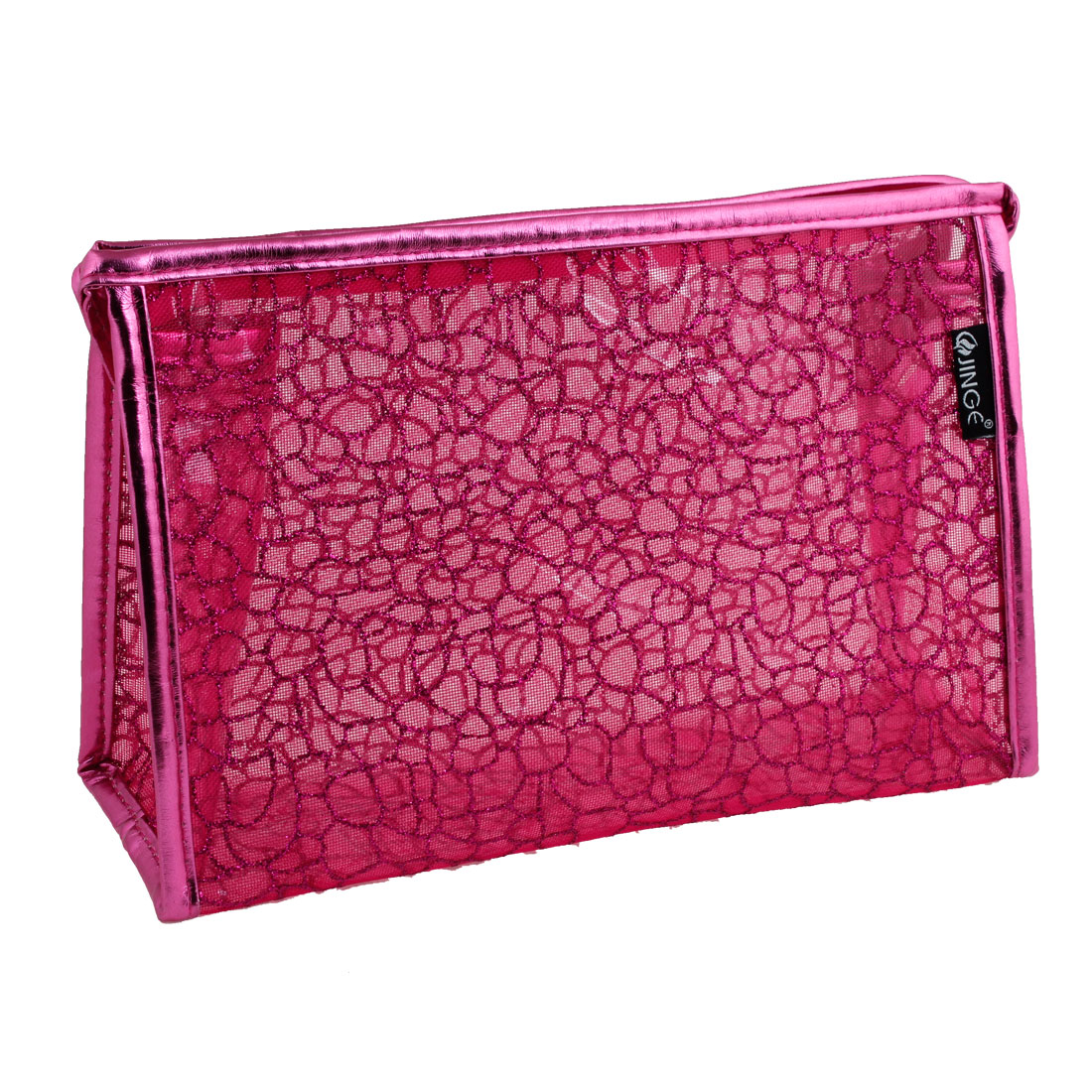 PVC Shiny Stone Block Printed Water Resistant Cosmetics Makeup Bag Pouch Fuchsia