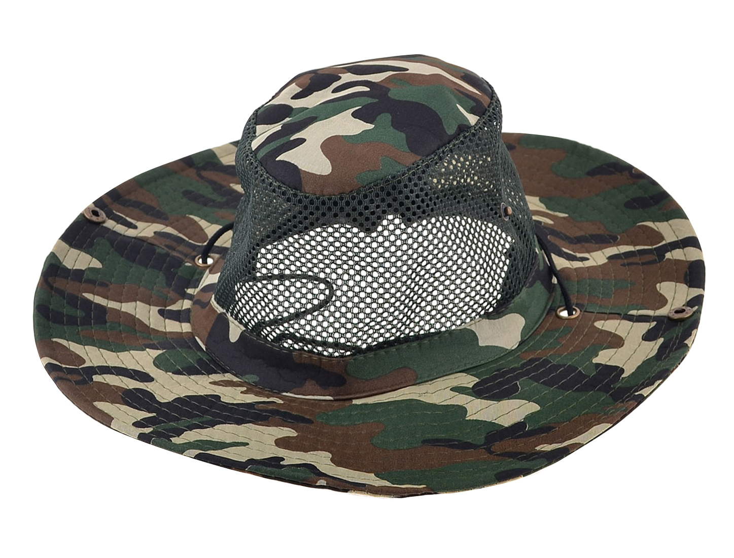 Men Mesh Design Top Camouflage Pattern Angling Fishing Hat Cap Army Green