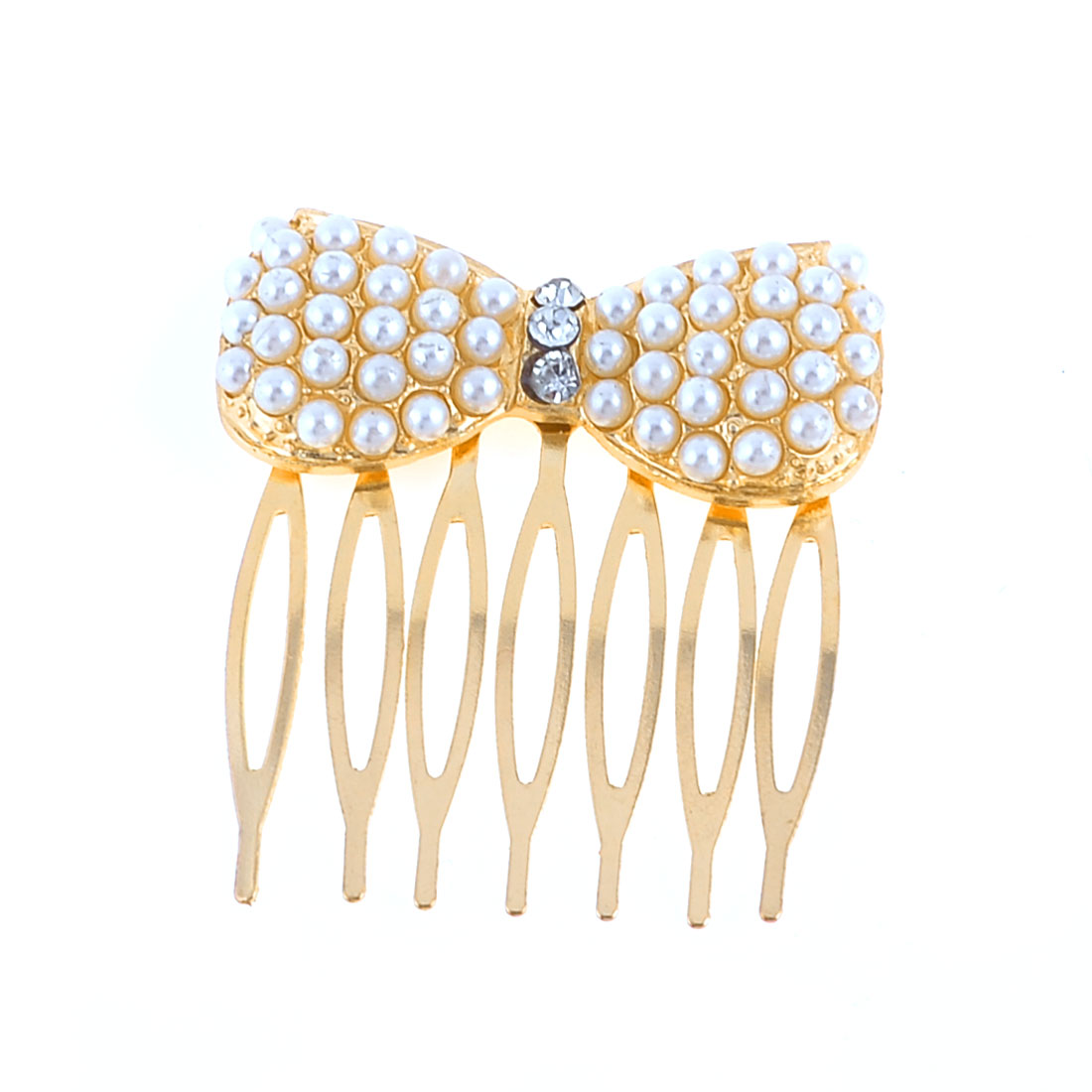 Plastic Beads Detail Gold Tone Metal Bowtie 7 Tooth Comb Hair Clip