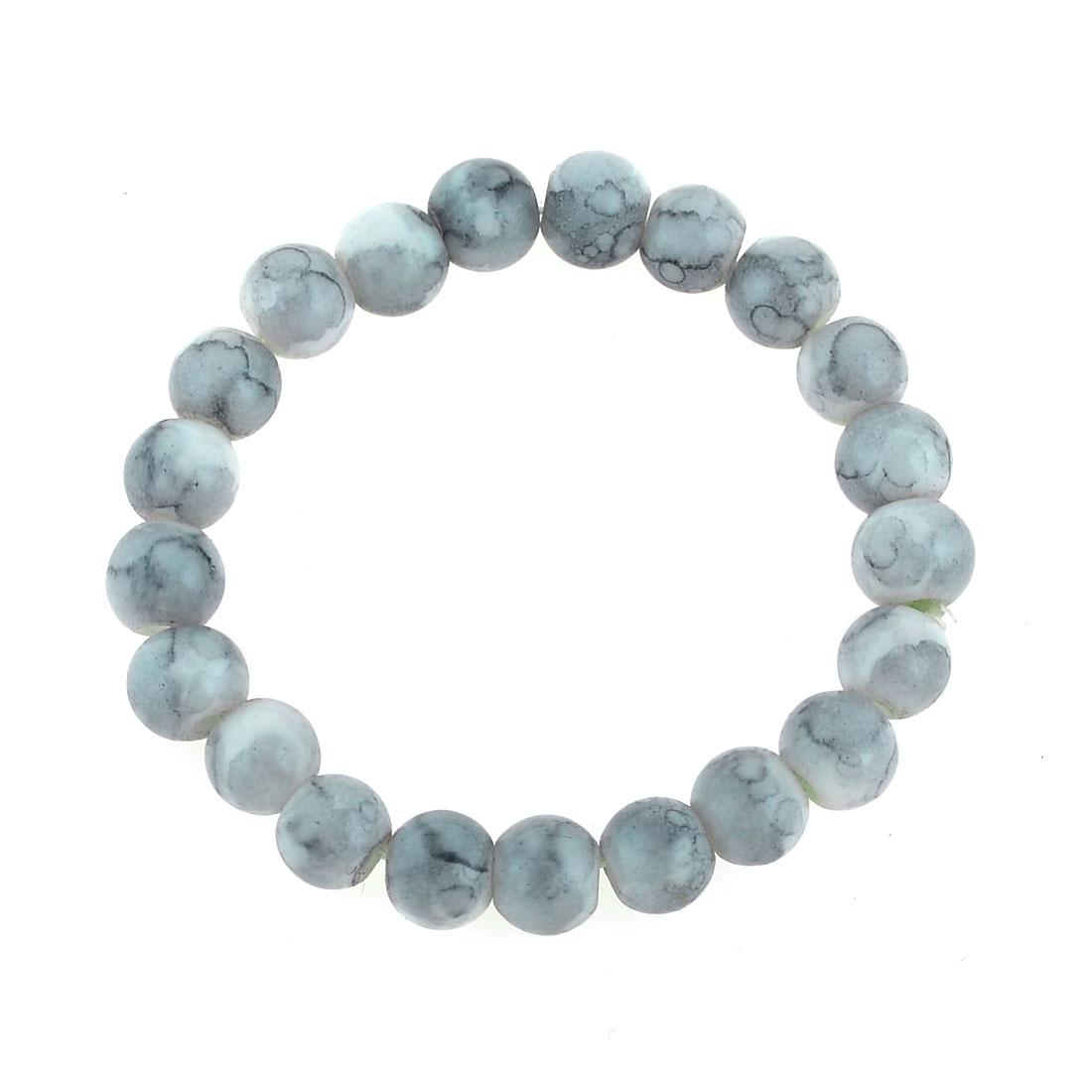 7mm Dia Gray Plastic Beaded Stretch String Wrist Bracelet for Women