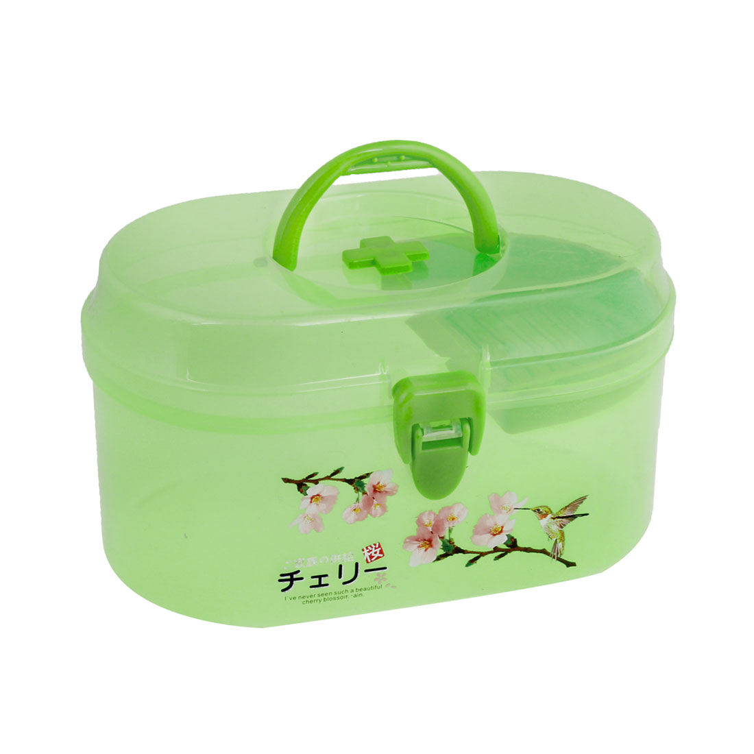 Clear Lime Flower Pattern Plastic Family Health Care Medicine Box Holder