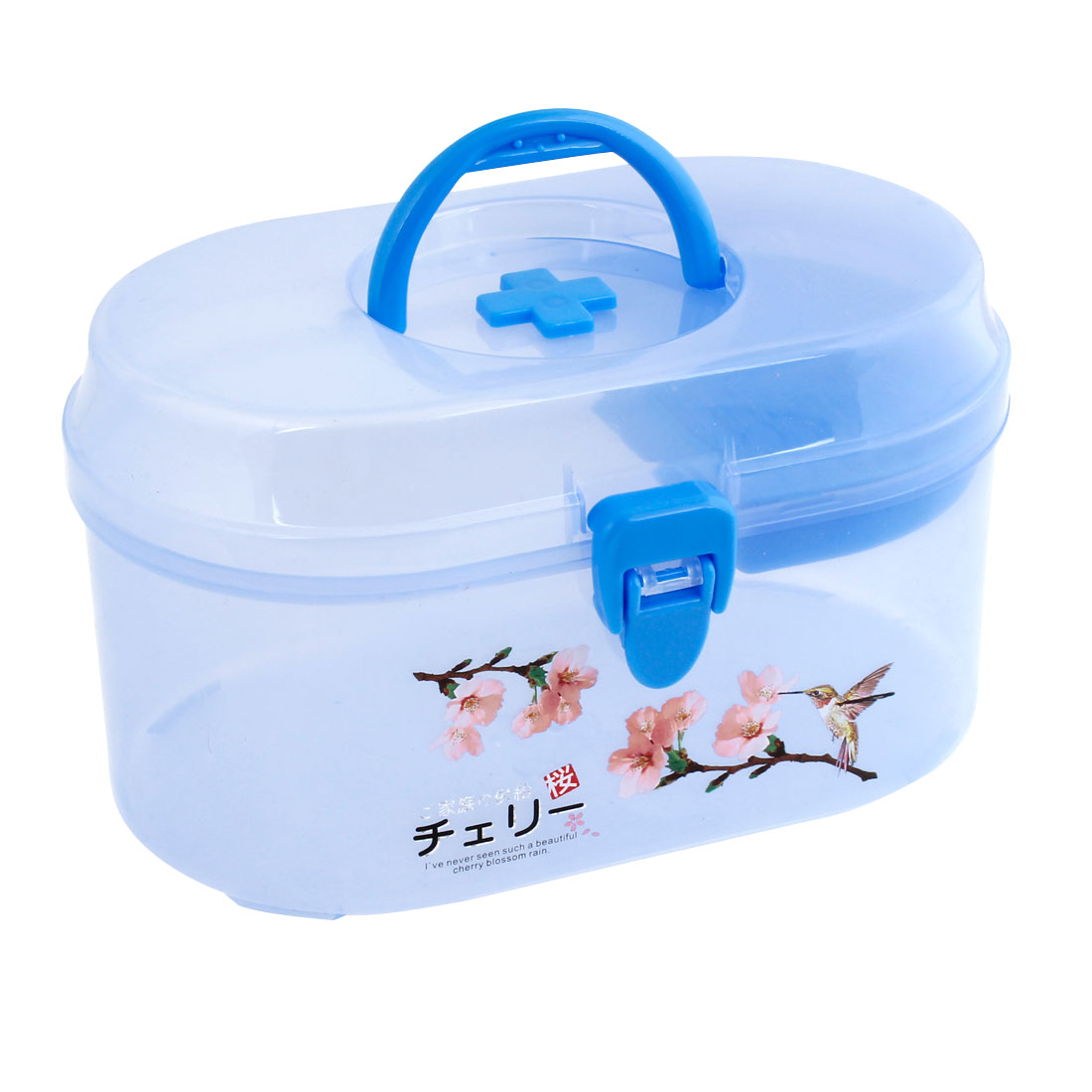 Clear Blue Flower Plastic Family Health Care Medicine Box Case Holder