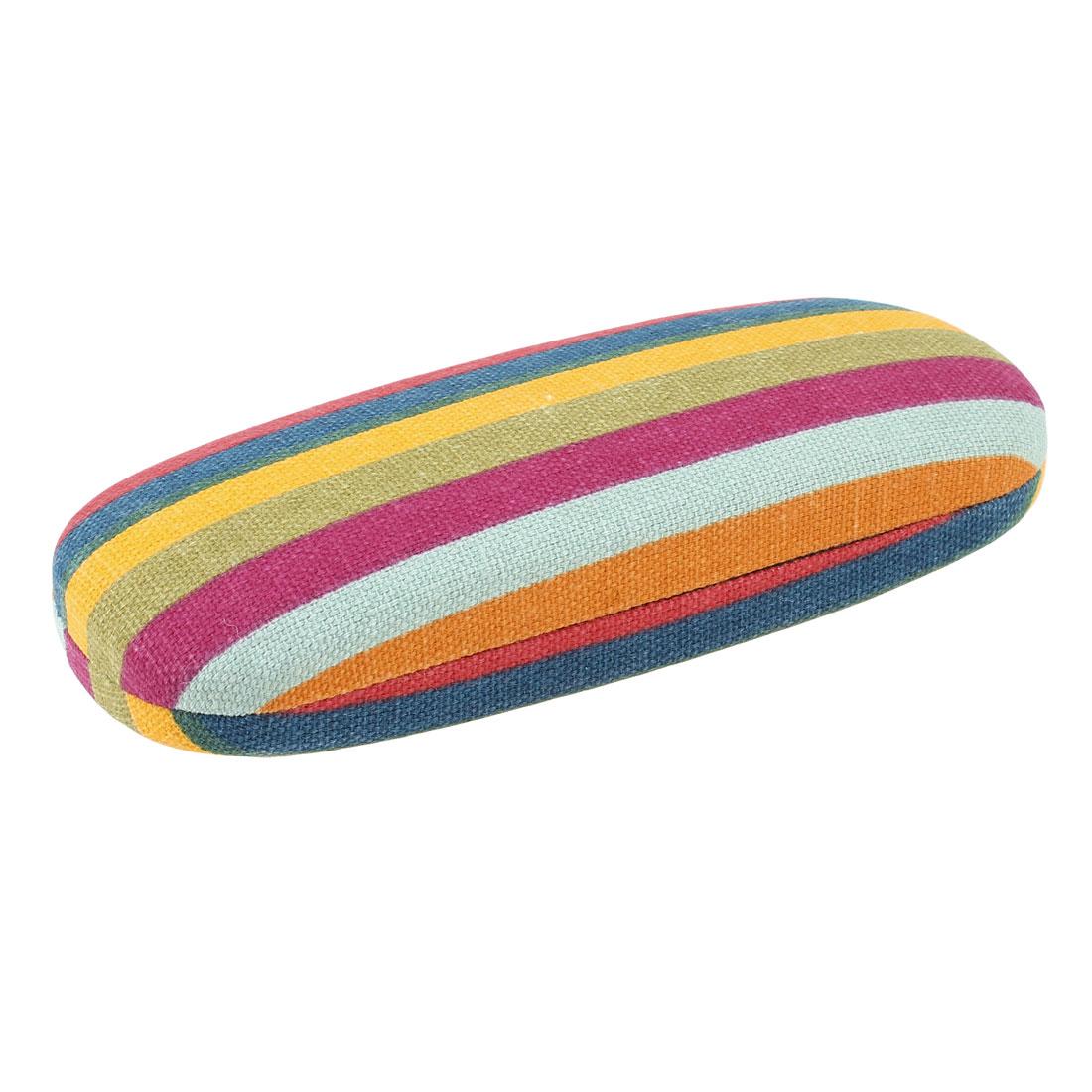 Colorful Stripe Print Nylon Coated Eyeglasses Spectacles Case Box