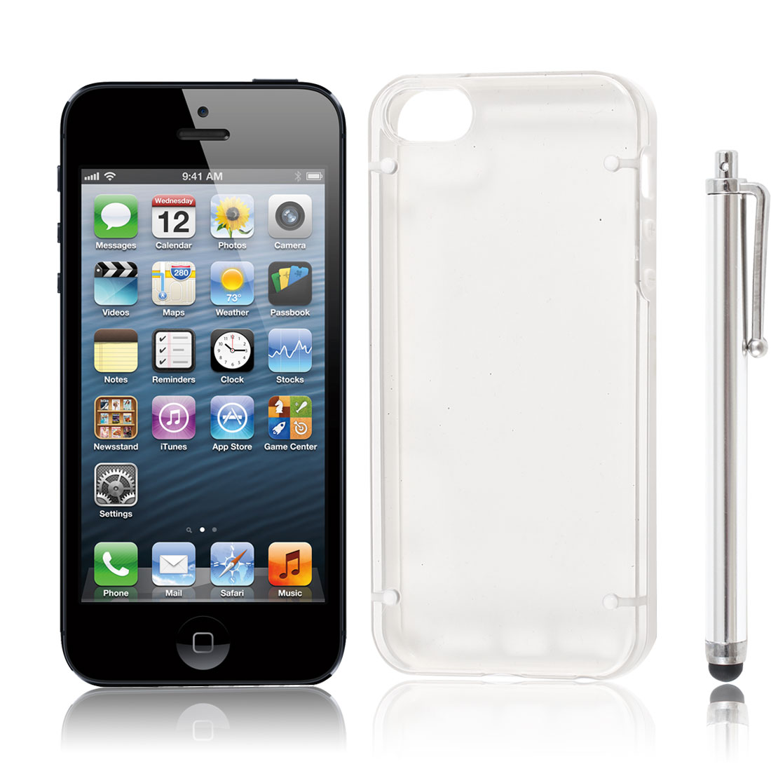 White Clear Hard Plastic Case Cover + Touch Stylus Pen for Apple iPhone 5 5S 5G