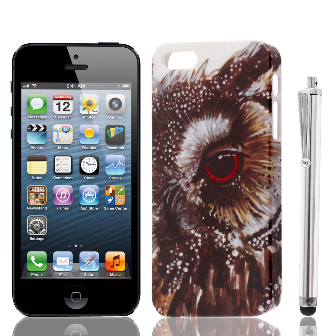 Eagle Eye Pattern IMD Hard Back Case Cover + Stylus Pen for iPhone 5 5S 5G
