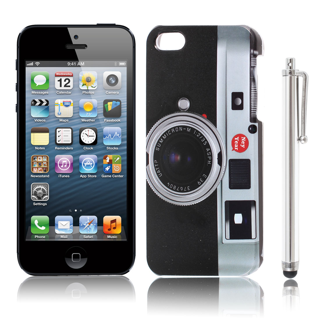 Black Camera Pattern IMD Back Case w Touch Screen Pen for Apple iPhone 5 5G 5S