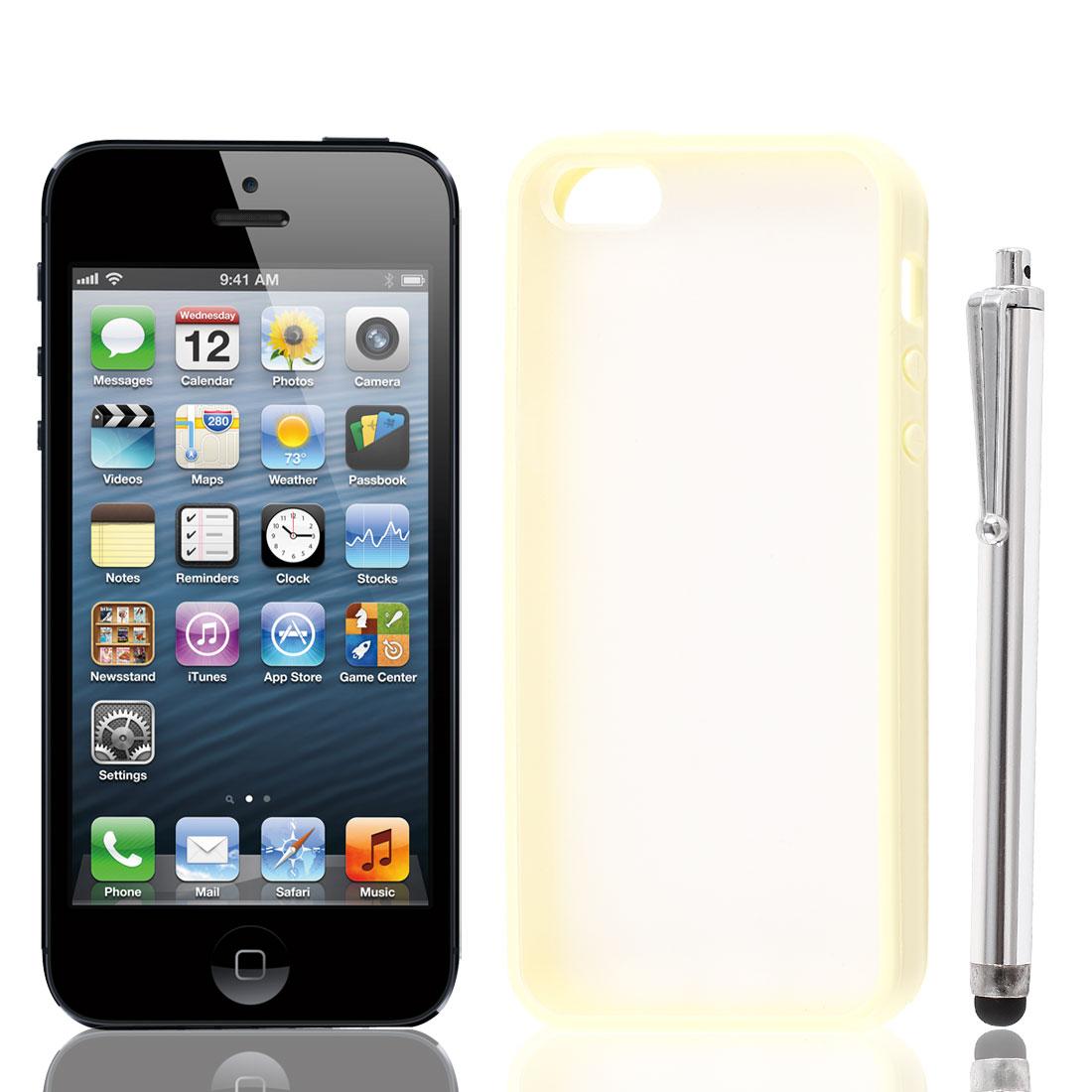 Beige Soft TPU Bumper Matte Clear Hard Case Cover + Stylus Pen for iPhone 5 5S