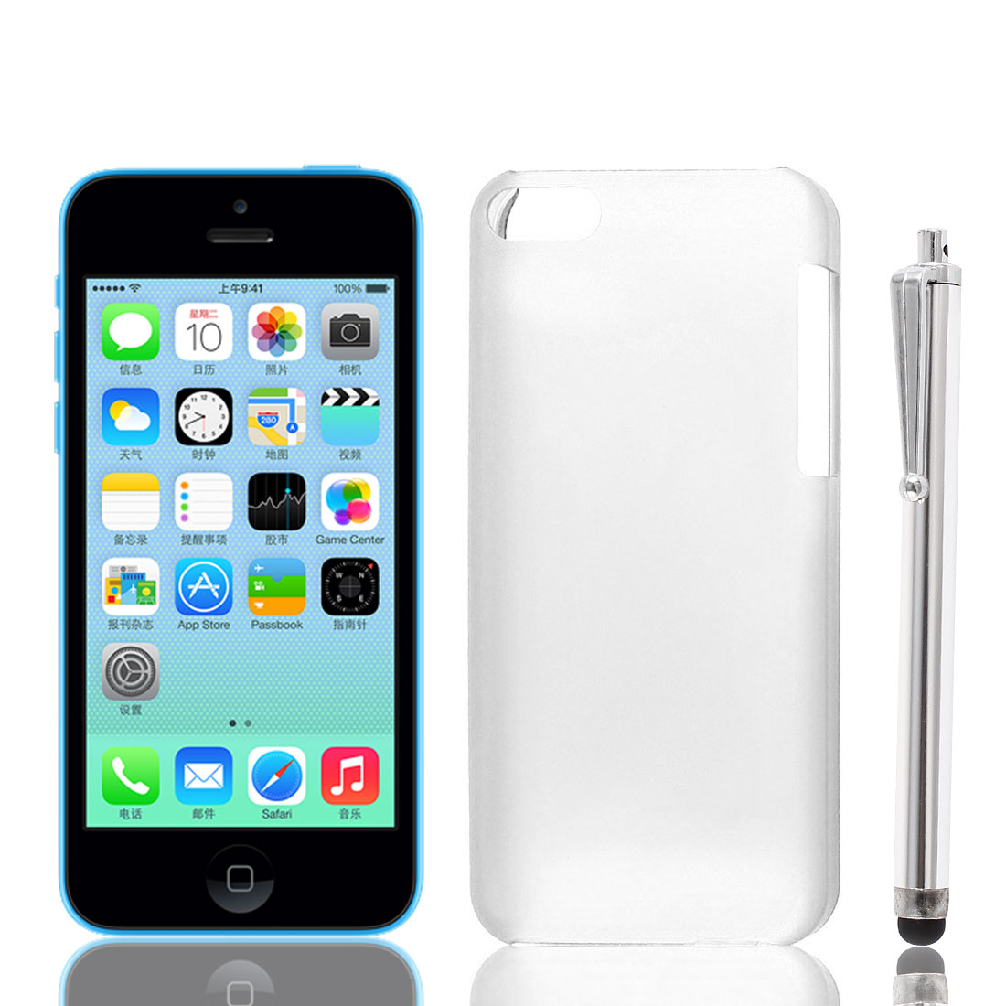 Clear Plastic 0.7mm Ultra-Thin Back Case Cover Slim + Stylus Pen for iPhone 5 5C