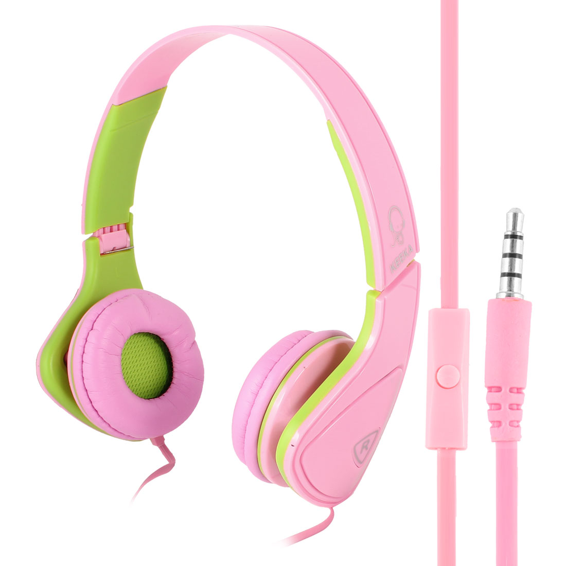 Pink Green Adjustable 3.5mm Plug Headphone Headset w Mic for Phone PC Notebook