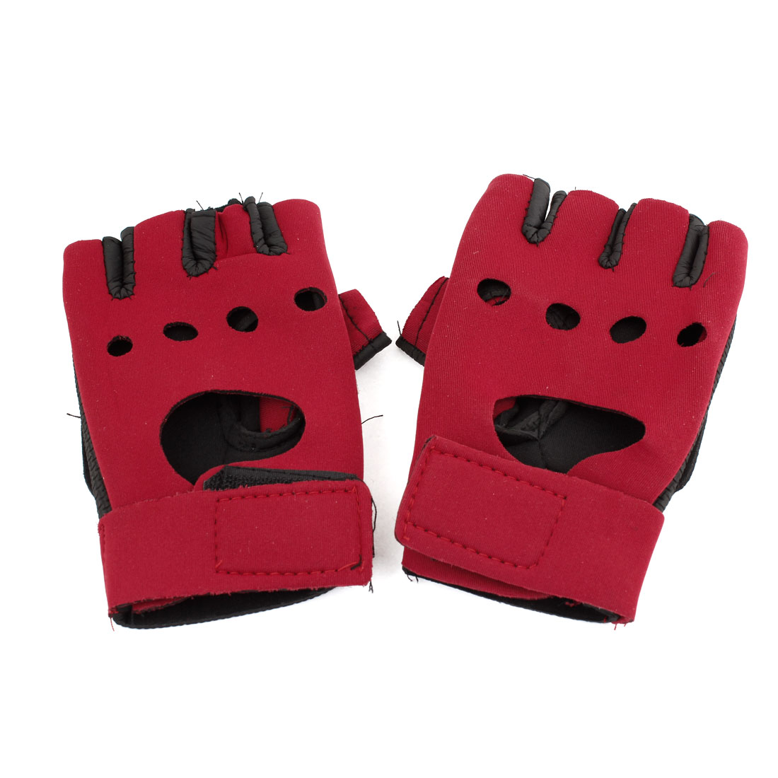 Cycling Pair Red Black Faux Leather Adjustable Band Sports Gloves Supports