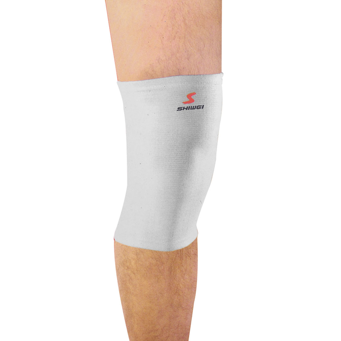 Outdoor Sports Training White Elastic Knee Sleeve Support Pair