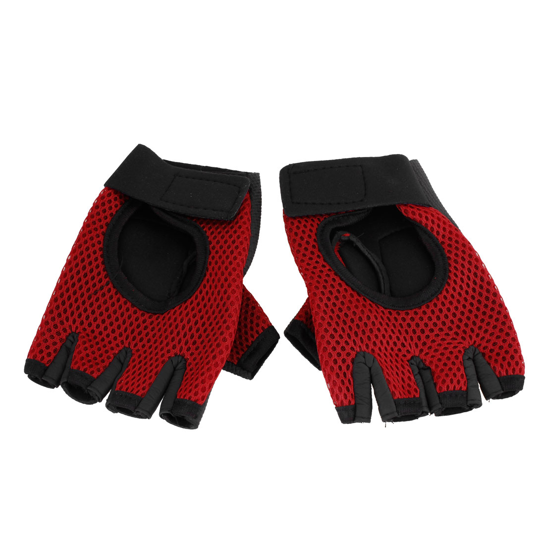 Pair Red Black Detachable Wrist Band Meshy Sports Gloves Supports