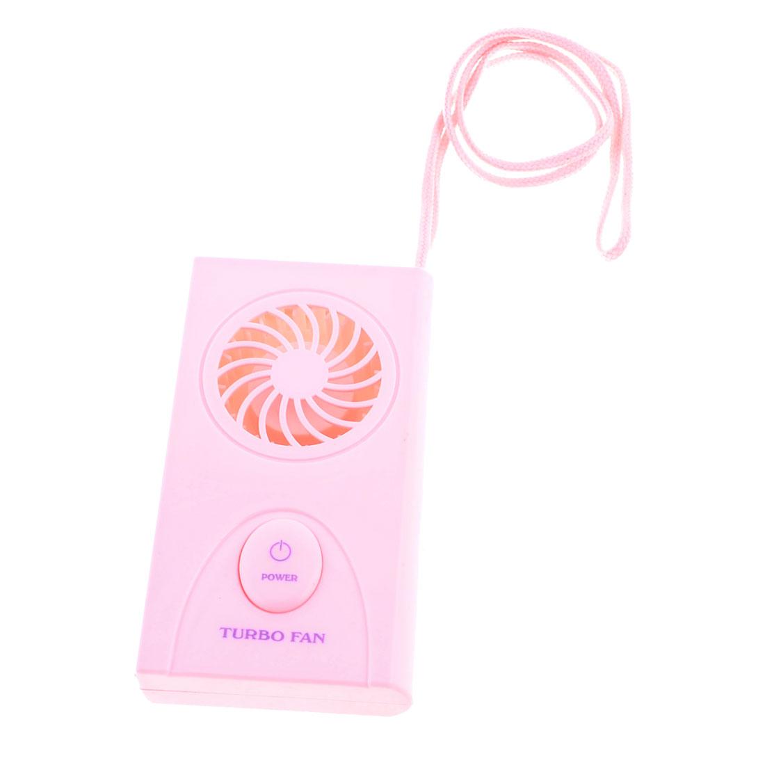 Tabletop Plastic Rectangle Shape Portable Mini Pocket Turbo Fan Pink