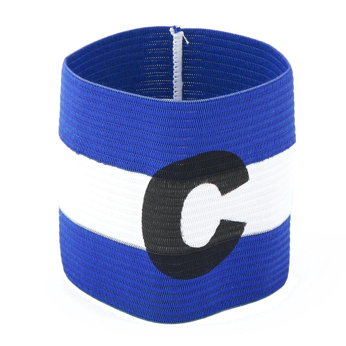 Letter C Printed Football Game Elastic Polyester Armband Blue White