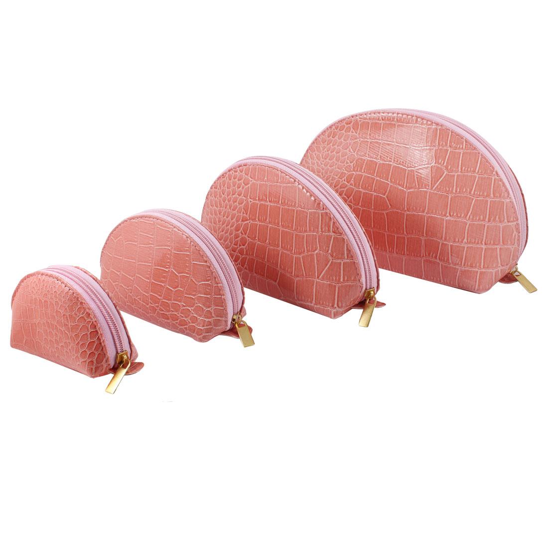 Lady Nylon Lining Zipper Closure Pink Crocodile Print Cosmetic Bag 4 in 1