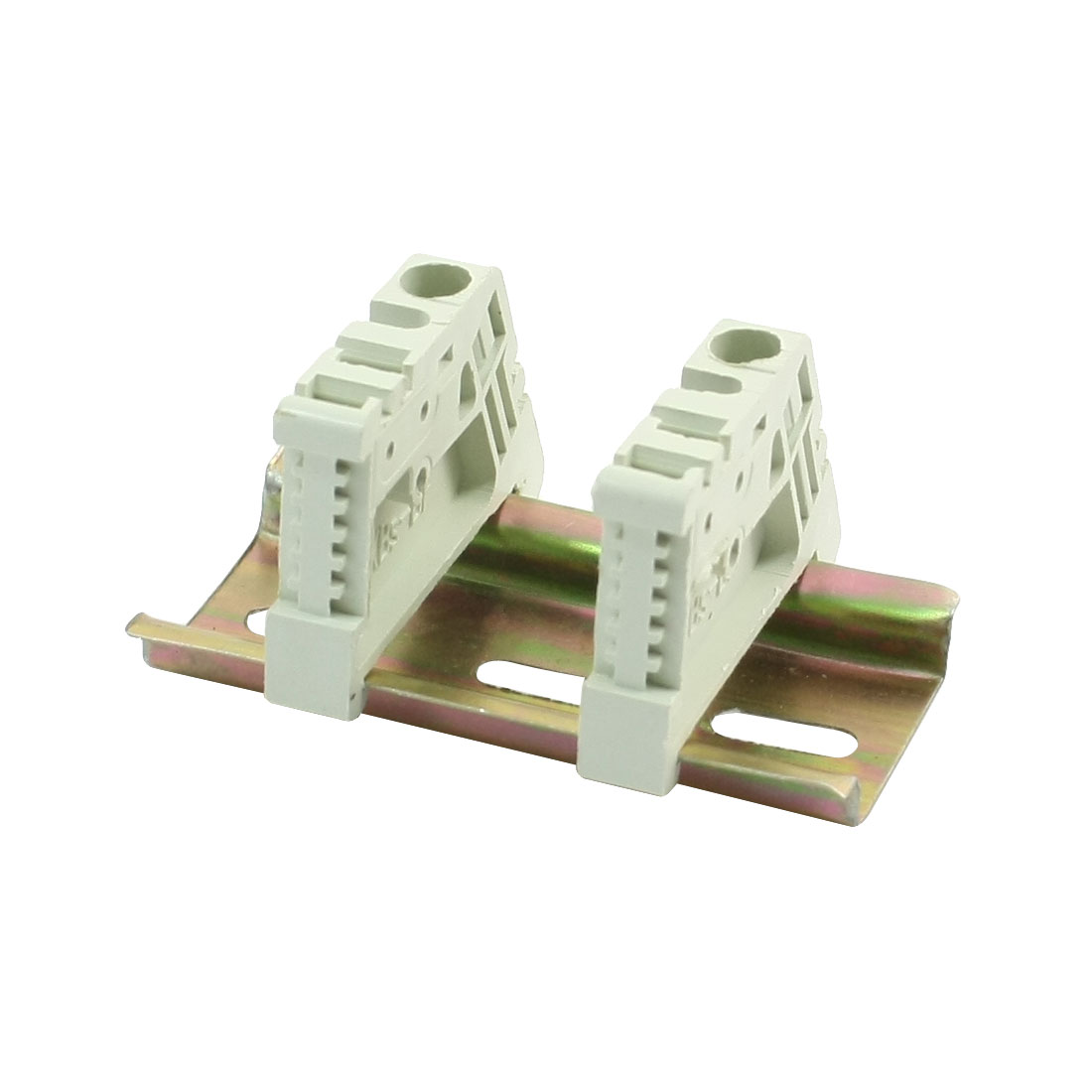 1 Set 60mmx35mm Slotted Metal DIN Rail w Terminal Block End Stoppers