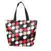 Folded Black Brown Circle Dots Pattern Zipper Reusable Shopping Totes Bag
