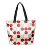 Zip Up Khaki Brown Round Dots Print Recycling Shopping Totes Bag Handbag