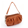 Lady Brown Faux Leather Dual Compartments Zip Up Hand Strap Purse Bag