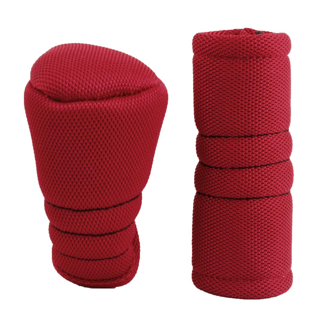 2pcs Zipper Car Gear Shift Knob Handbrake Cover Sleeve Red