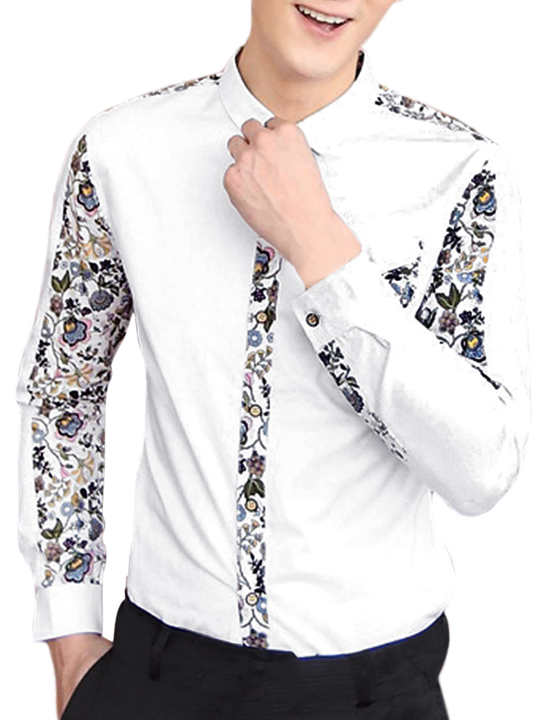 Men Point Collar Button Down Floral Prints Panel White Shirt M