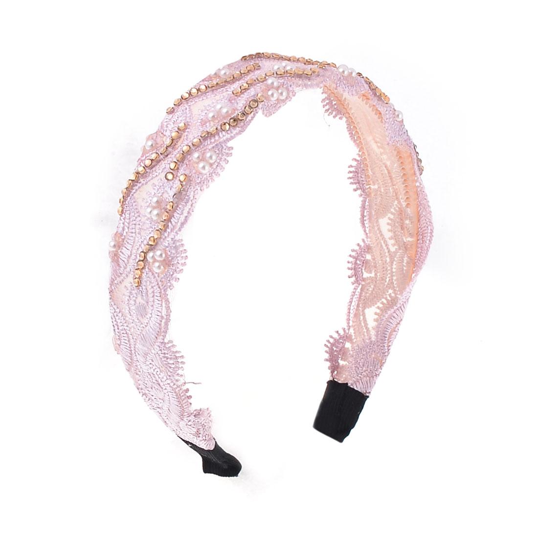 Ladies Gold Tone Faux Rinestones Decor Nylon Covered Headband Hair Hoop