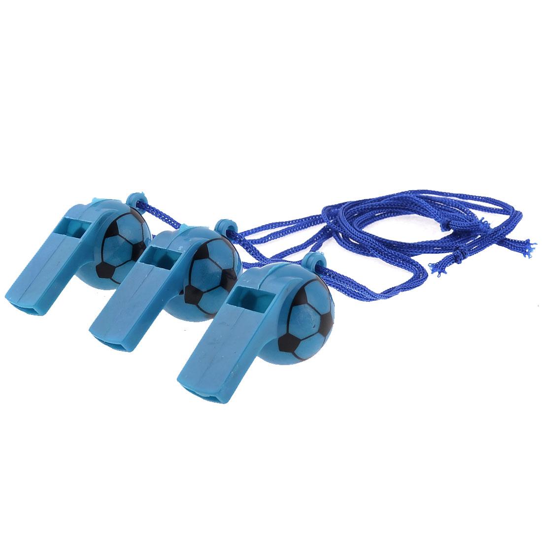 Neck String Black Football Pattern Plastic Referee Type Whistles 3 Pcs