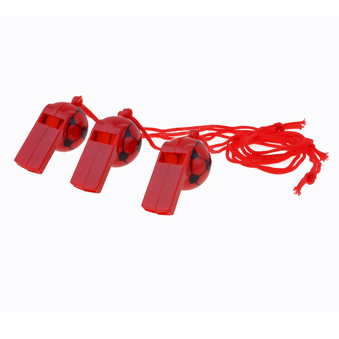 Neck String Football Pattern Plastic Referee Type Whistles Red 3 Pcs