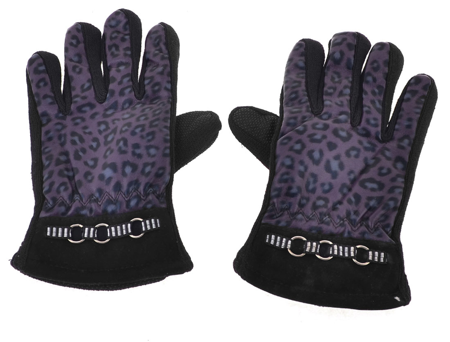 Pair Leopard Prints Faux Leather Full Finger Winter Gloves Purple for Lady