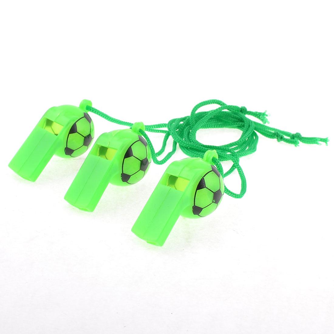 Neck String Football Pattern Plastic Referee Type Whistles Green 3 Pcs