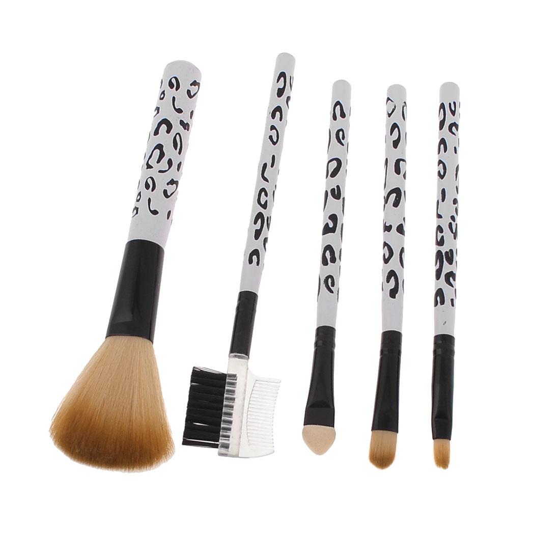Lady Facial Beauty Blusher Brush Eyebrows Eyelash Comb Set 5 in 1