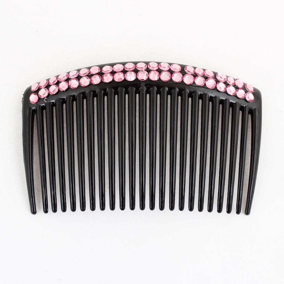 Women Black Plastic Rhinestone Decor Comb Hair Clip Clamp