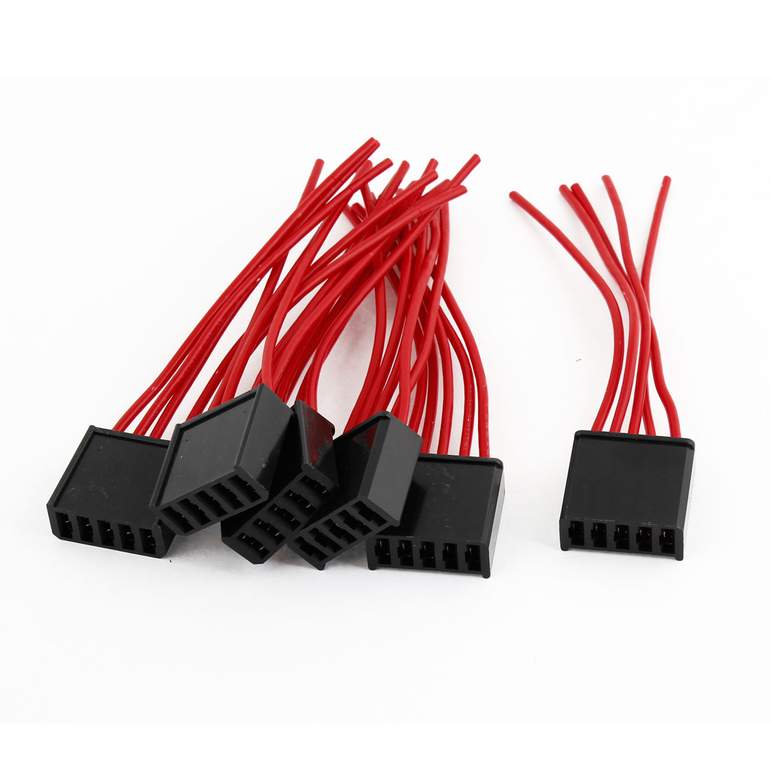 Car Black Red Drivers Door Power Window 5 Switch Wiring Harness Plug 6 Pcs