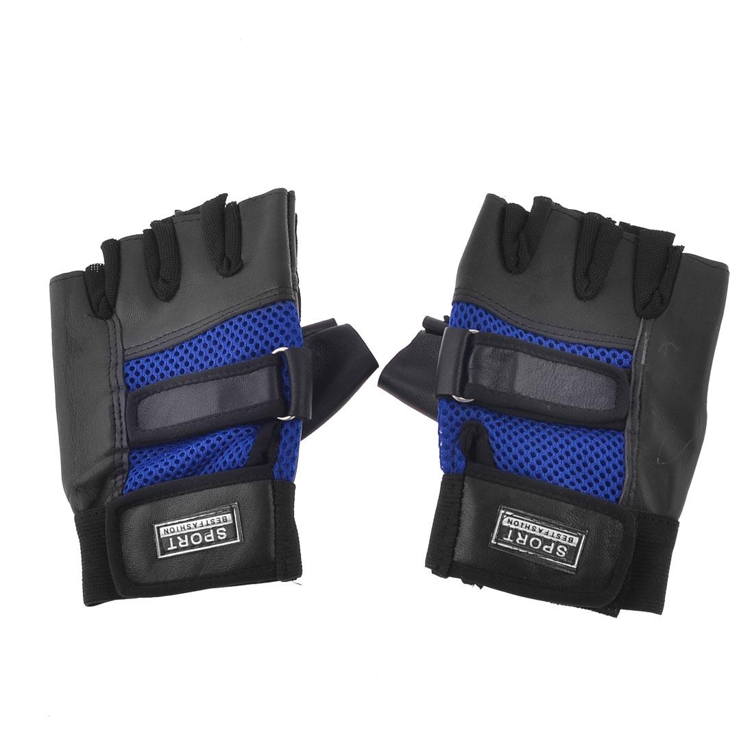 Portable Women Lady Blue Black Sports Half Finger Gloves Pair