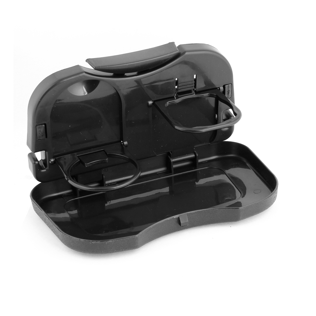 Car Interior Black Plastic Foldable Food Table Dining Tray Drink Cup Holder