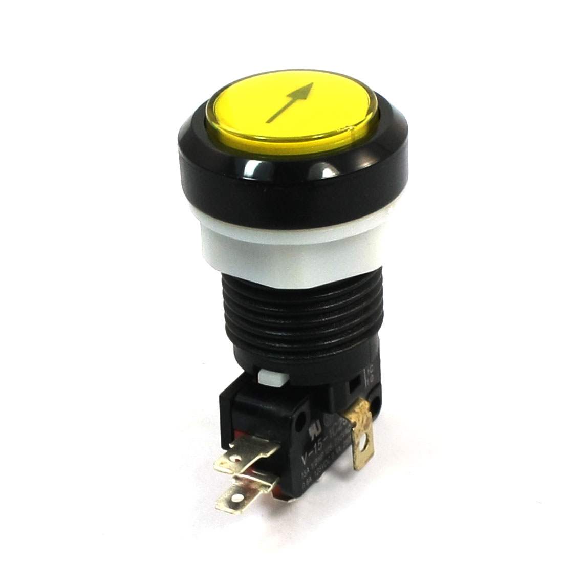 24mm Mounting Yellow Momentary Push Button Switch AC125/250V 15A SPDT