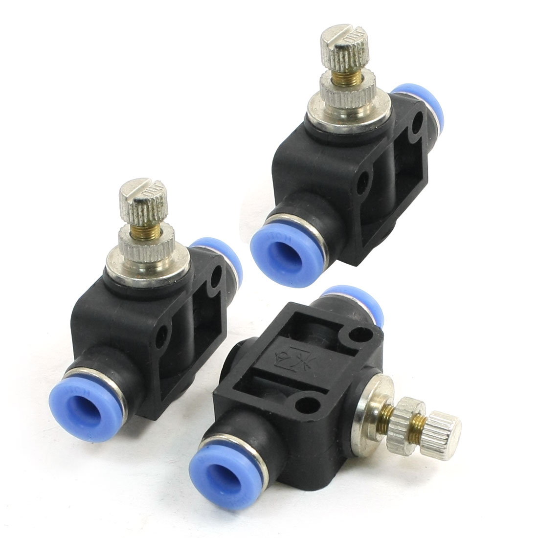Air Pneumatic Quick Fitting 6mm to 6mm Push In Speed Controller Valve 3pcs