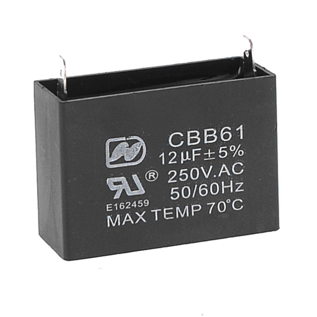 Black Metallized Polypropylene Running Capacitor 250VAC 12UF CBB61 50/60Hz