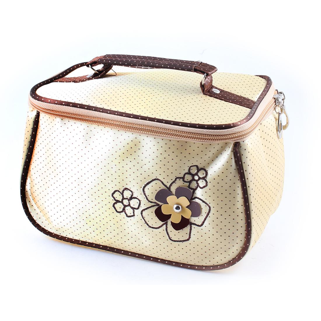 Ladies Khaki Dots Print Zipper Closure Beige Cosmetic Pouch Bag w Mirror