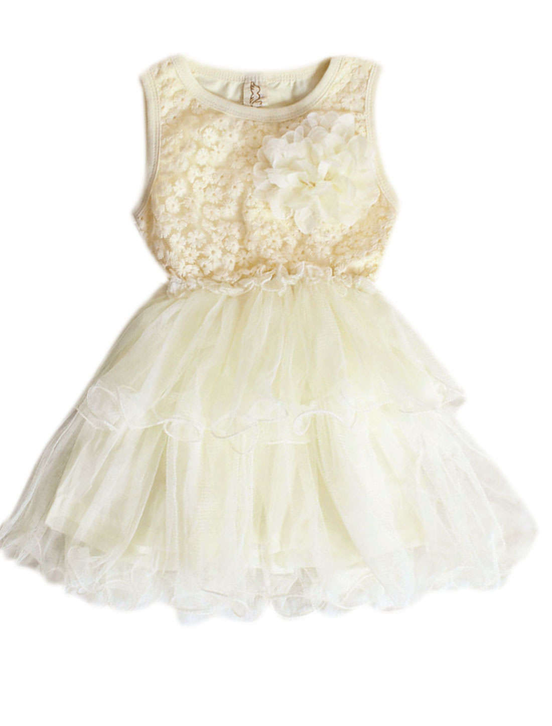 Light Yellow Round Neck w Flower Brooch Dress 12 month for Girls