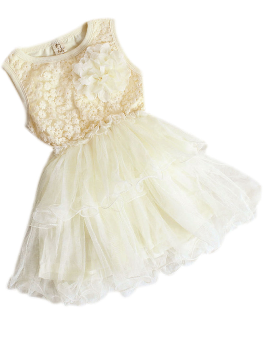 Girls Light Yellow Round Neck Floral Crochet Mesh Splicing Dress 3T