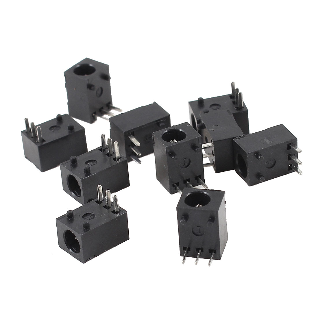 10 Pcs Black 3 Poles 3.5mm x 1.3mm DC Power Jack Socket PCB Mount Connector