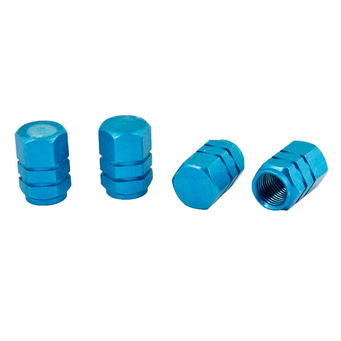 Vehicle Car Aluminum Alloy Tire Valve Stem Cap Cover Decor Teal Blue 4pcs