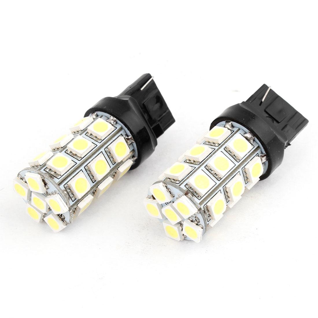 2 Pcs White 7440 27 5050 SMD LED Fog Turn Signal Lamp DC 12V for Vehicle Car