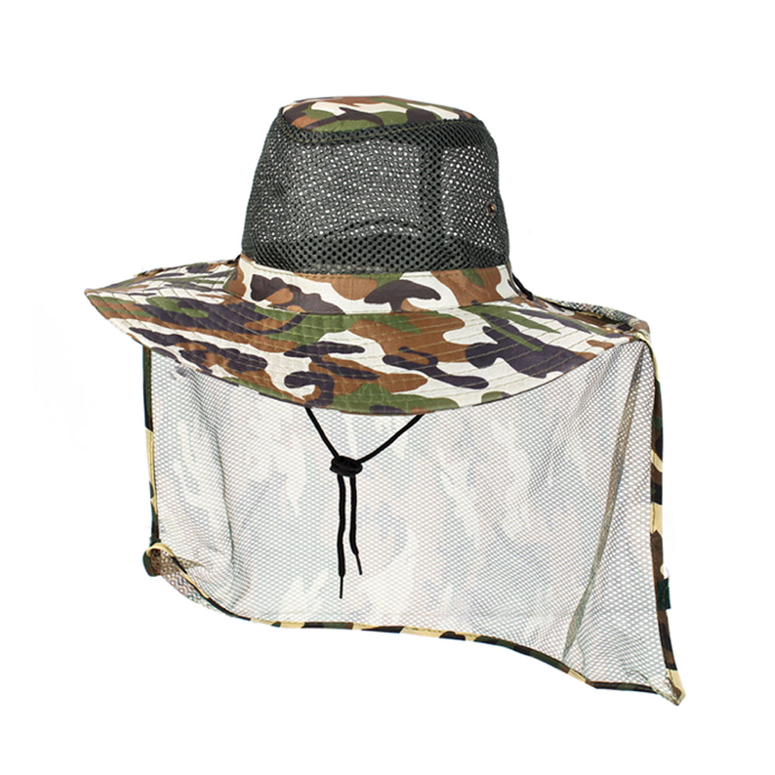 Camouflage Pattern Detachable Neck Flap Fishing Hat Cap