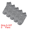 5 Pairs Gray Elastic Cuff Low Cut Ankle Sports Socks for Lady