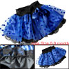 Girls Dots Pattern Elastic Waist Royal Blue Tiered Skirt 6-9 month