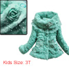 Girls Long Sleeved Flower Pattern Green Padded Coat 3T