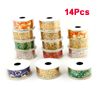 270cm x 4cm Powder Assorted Color Christmas Xmas Ribbon Roll Ornament 14Pcs